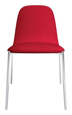 Mobilier - Chaises, fauteuils de salle à manger - Chaise rembourrée Ella - Zanotta - Rouge / Pieds alu poli - Aluminium poli, Mousse, Tissu