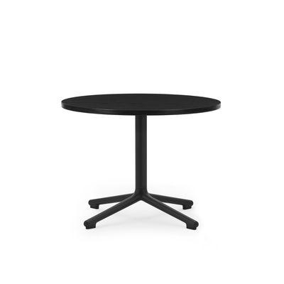 Furniture - Coffee Tables - Lunar Coffee table - / Ø 60 x H 45 cm - Black oak by Normann Copenhagen - Black oak / Black - Painted cast aluminium, Tinted oak plywood