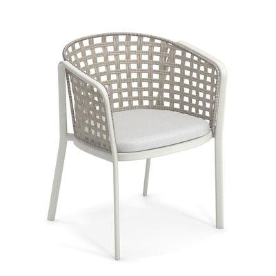 Mobilier - Chaises, fauteuils de salle à manger - Fauteuil Carousel / Corde synthétique & métal - Emu - Blanc mat / Corde ivoire - Aluminium, Corde synthétique