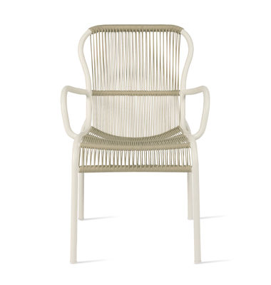 Mobilier - Chaises, fauteuils de salle à manger - Fauteuil empilable Loop Rope / Cordage polypropylène tissé main - Vincent Sheppard - Beige - Aluminium thermolaqué, Corde polypropylène