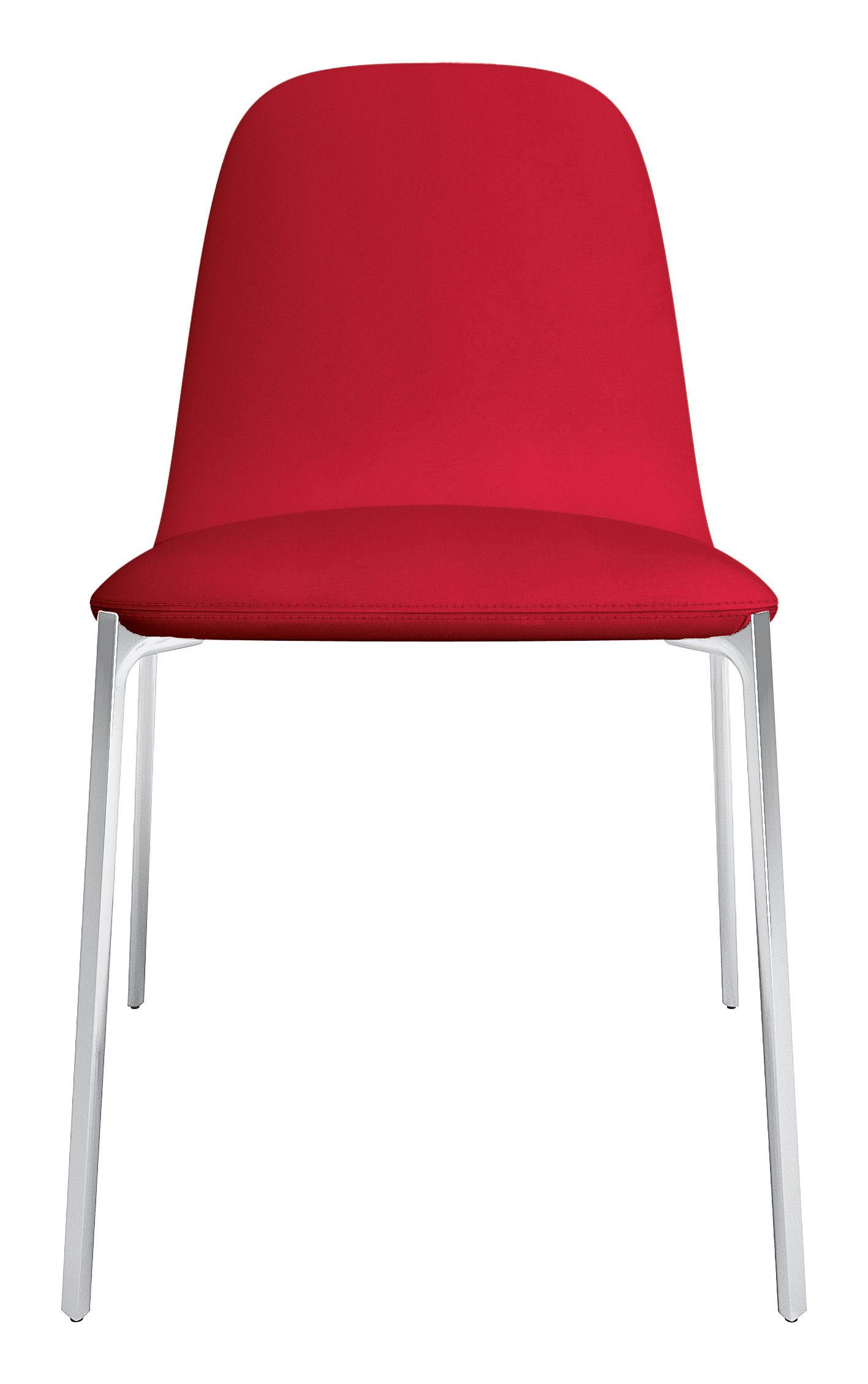 Möbel - Stühle  - Ella Gepolsterter Stuhl - Zanotta - Rot / Tischbeine Aluminium poliert - Gewebe, poliertes Aluminium, Schaumstoff