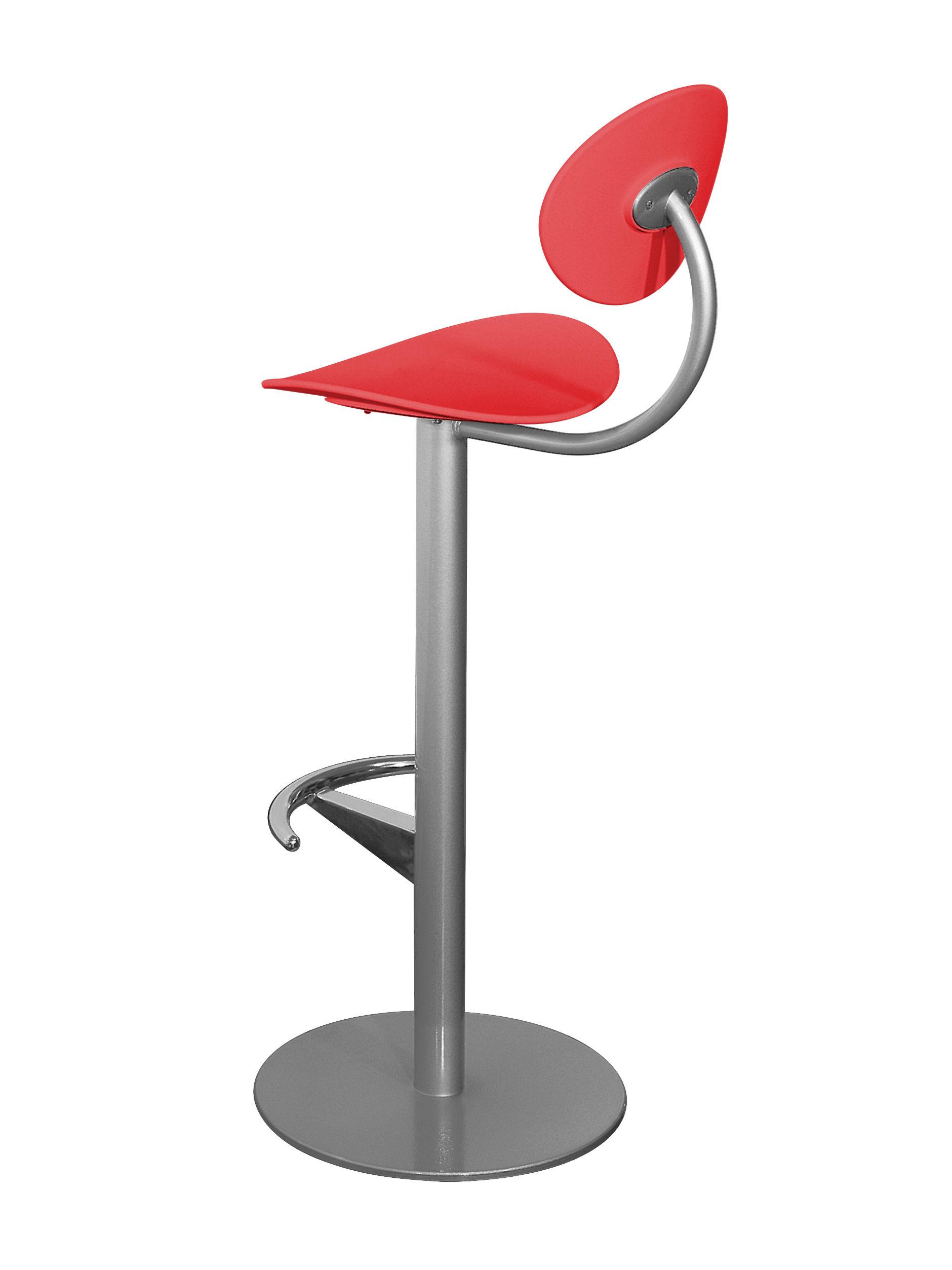 Möbel - Barhocker - Coma Hochstuhl H 79 cm - mit Lehne - Enea - Rot - aluminiumgrau - lackierter Stahl, Polypropylen