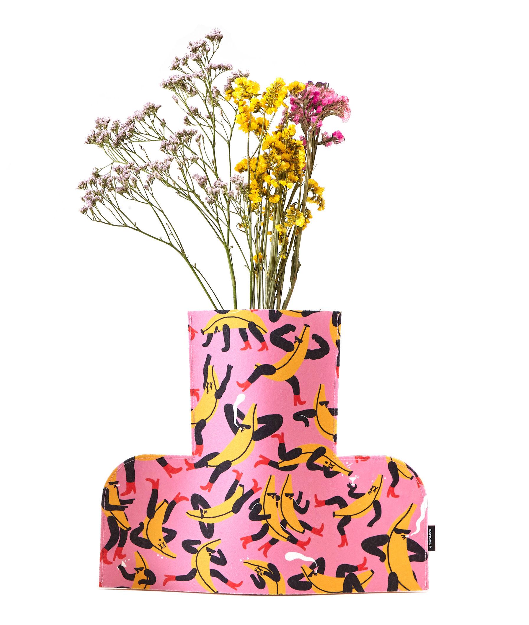 Déco - Vases - Housse pour vase Flower Power Large / H 35 cm - Feutre - Sancal - Banana Guys / Rose - Feutre