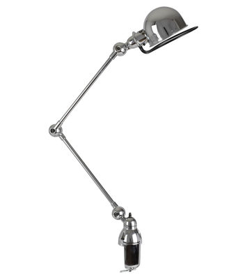 Lampe de table Loft /Base étau - 2 bras articulés - H max 80 cm - Jieldé chromé brillant en métal