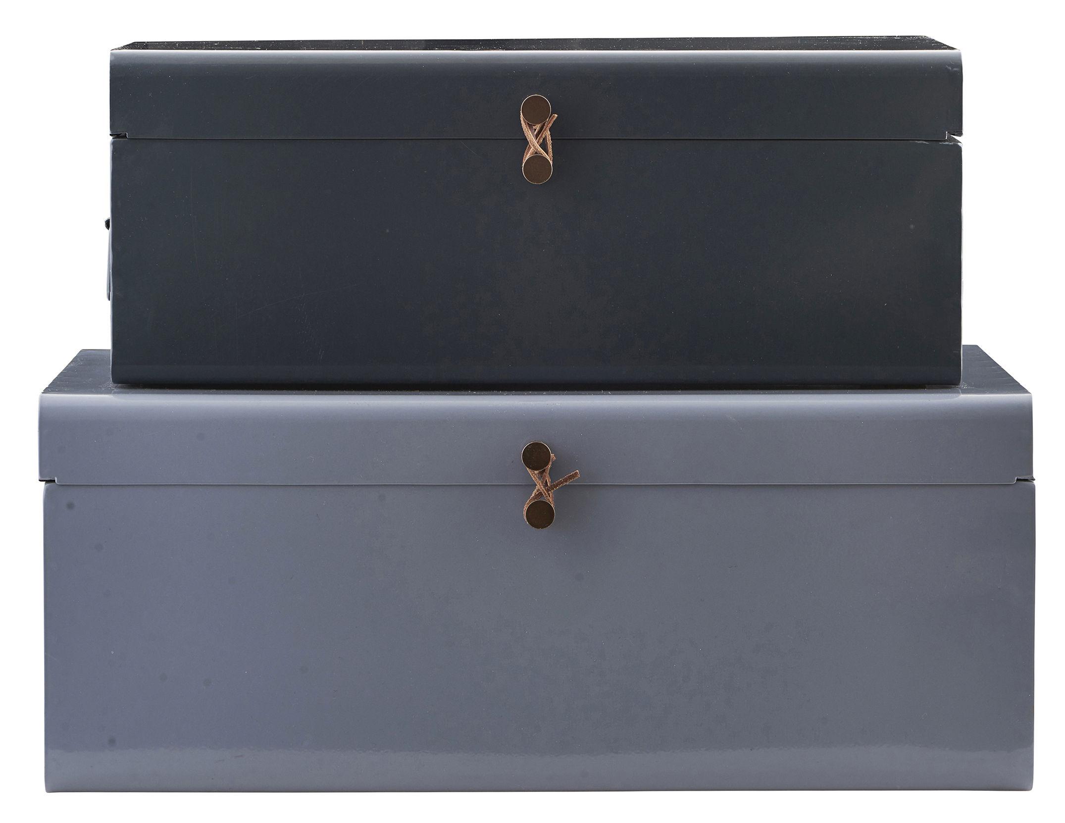 Déco - Pour les enfants - Malle Metal / Set de 2 - 60 x 36 cm - House Doctor - Bleu foncé/ Bleu-gris - Cuir, Métal laqué