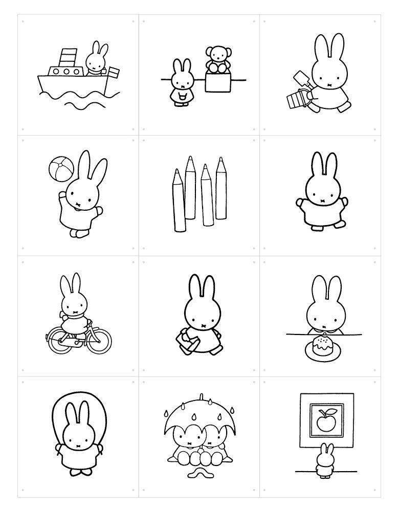 Déco - Pour les enfants - Panneau décoratif Miffy à colorier / 60 x 80 cm - ixxi - Noir et blanc - Miffy - Papier synthétique