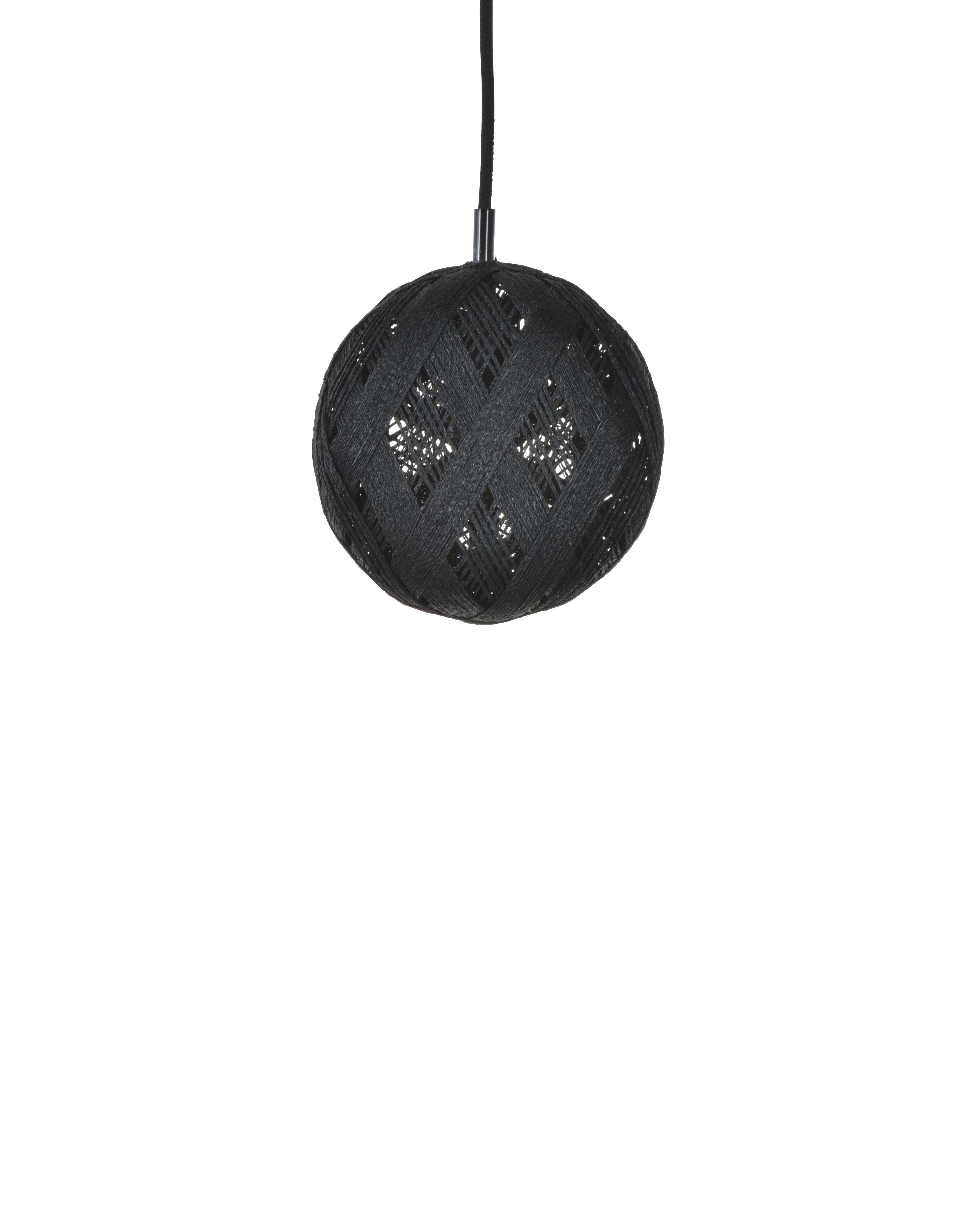 Lighting - Pendant Lighting - Chanpen Hexagon Pendant - Ø  19 cm by Forestier - Black / Triangle patterns - Woven acaba