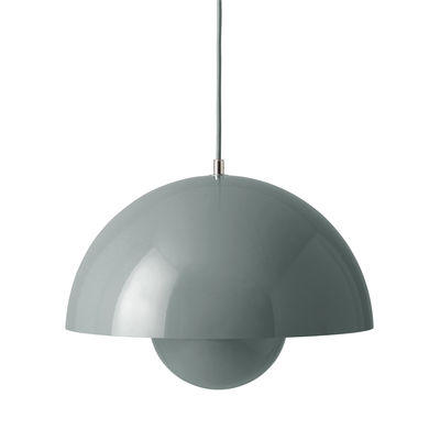 Lighting - Pendant Lighting - FlowerPot VP7 Pendant - / Ø 37 cm - By Verner Panton, 1969 by &tradition - Stone Blue - Lacquered aluminium