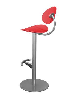 Arredamento - Sgabelli da bar  - Sedia da bar Coma - h 79 cm - Con schienale di Enea - Rosso - Grigio alluminio - Acciaio laccato, Polipropilene