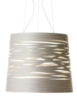 Illuminazione - Lampadari - Sospensione Tress - LED / Dimmer - Ø 48 x H 41 cm di Foscarini - Bianco - Acciaio, Fibra di vetro, Materiale composito laccato, Vetro opalino
