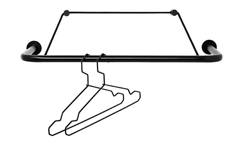 Interni - Rastrelliere e Ganci - Porta abiti Gravity a parete / L 60 cm - Nomess - Nero - Metallo, Poliestere