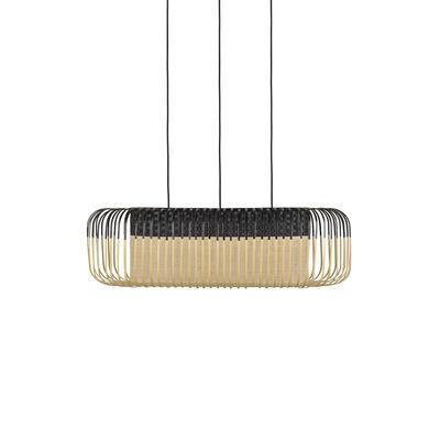 Luminaire - Suspensions - Suspension Bamboo Oval / Medium - 80 x 38 x H 24 cm - Forestier - Noir - Bambou