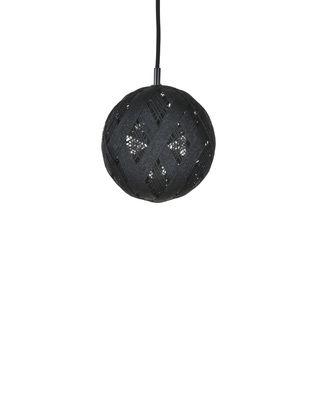 Luminaire - Suspensions - Suspension Chanpen Hexagon / Ø  19 cm - Forestier - Noir / Motifs triangles - Abaca tissé