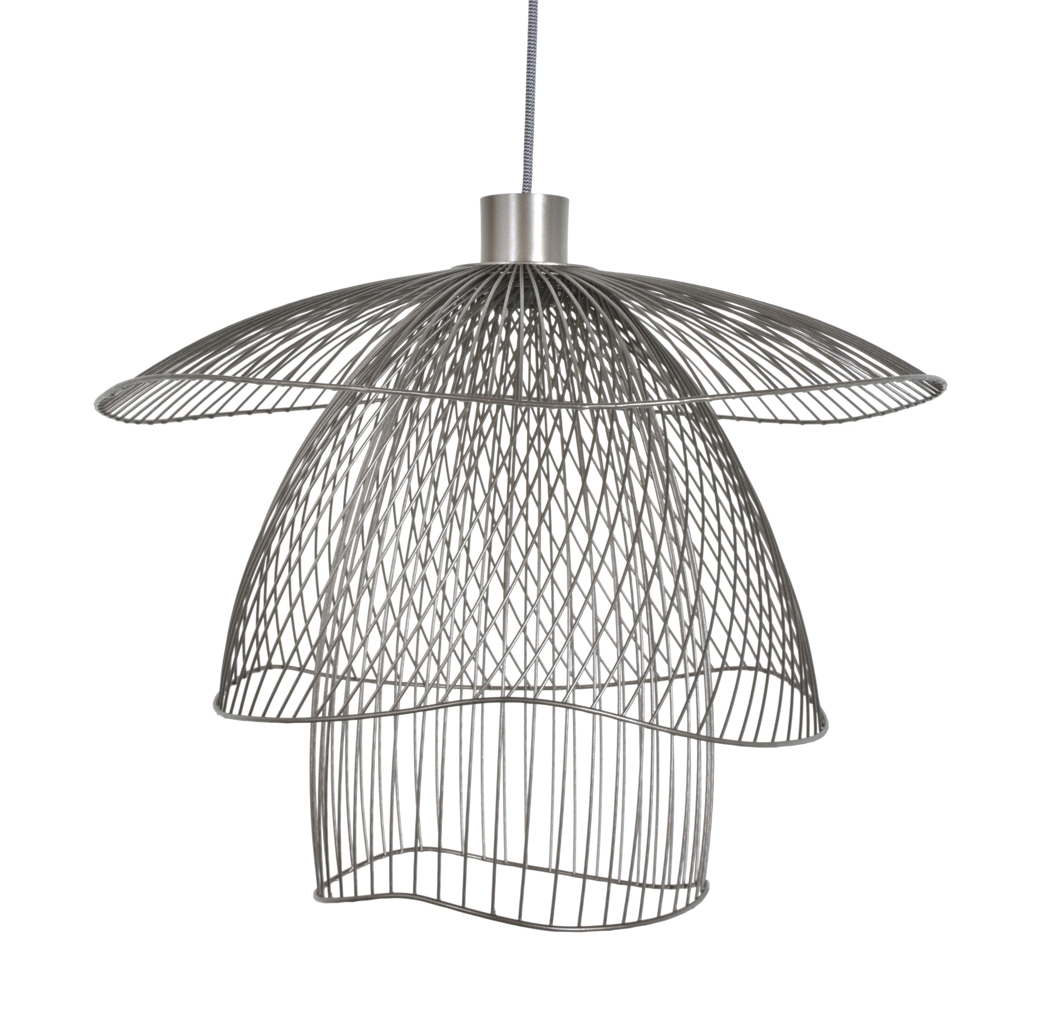 suspension papillon small forestier taupe m tallique abat jour h 38 4 cm x 56 cm. Black Bedroom Furniture Sets. Home Design Ideas