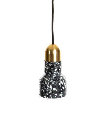 Suspension Terrazzo Luxe / Ø 9,6 x H 17,5 cm - XL Boom noir,doré en pierre