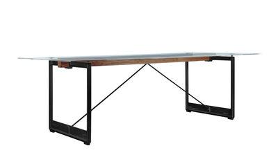Jardin - Tables de jardin - Table Brut / L 260 x 85 cm - Outdoor - Magis - Transparent / Piètement noir - Fonte, Iroko massif, Verre trempé