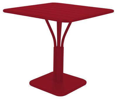 Table carrée Luxembourg / 80 x 80 cm - Pied central - Aluminium - Fermob piment en métal