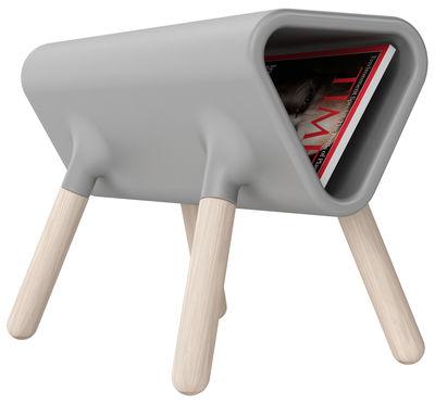 Table d'appoint Didier / Porte-revues - L 60 cm - Stamp Edition gris en matière plastique
