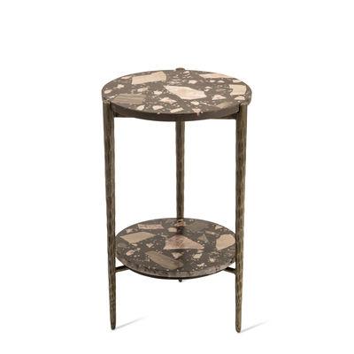 Table d'appoint Nougat / Ø 37 x H 55 cm - Terrazzo - Pols Potten marron,métal patiné en pierre