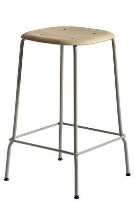 Tabouret haut Soft Edge 30 / H 65 cm - Bois & Métal - Hay gris/bois naturel en métal/bois