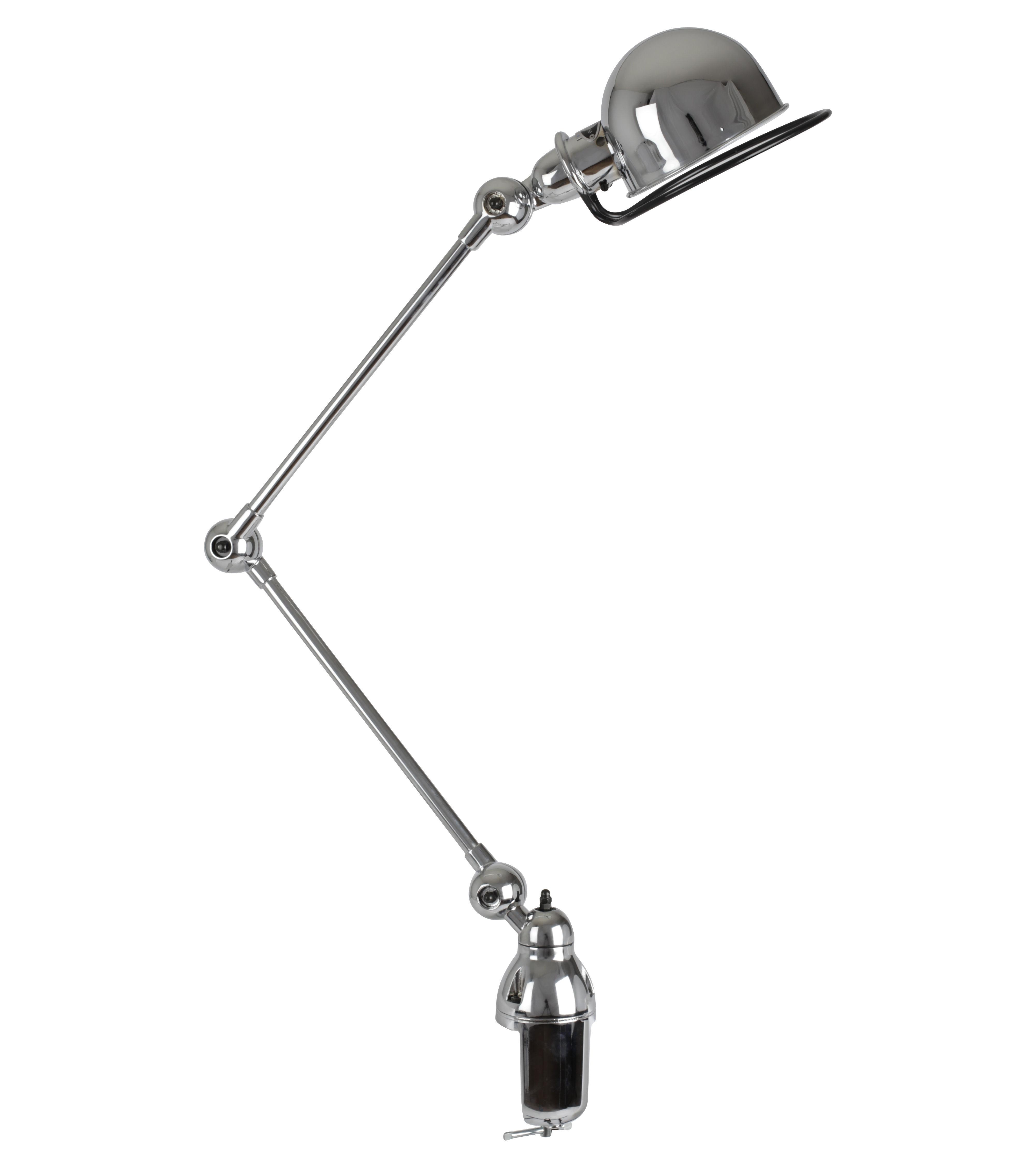 Leuchten - Tischleuchten - Loft Tischleuchte / Klemmlampe - mit 2 Gelenkarmen - H max. 80 cm - Jieldé - Chrom-glänzend - Acier inoxydable chromé, Porzellan