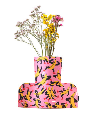Decoration - Vases - Flower Power Large Vase cover - / H 35 cm - Felt by Sancal - Banana Guys / Pink - Felt