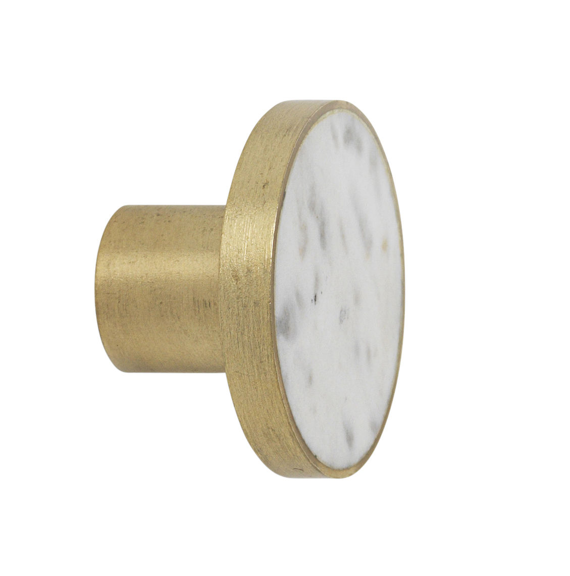 Möbel - Garderoben und Kleiderhaken - Marbre Large Wandhaken / Griff - Ø 4 cm - Ferm Living - Marmor weiß - Marmor, Messing