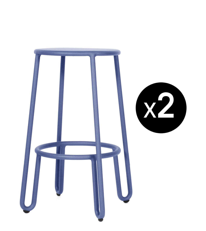 Furniture - Bar Stools - Huggy Bar stool - / H 65 cm - Set of 2 by Maiori - Blue dawn - Lacquered aluminium