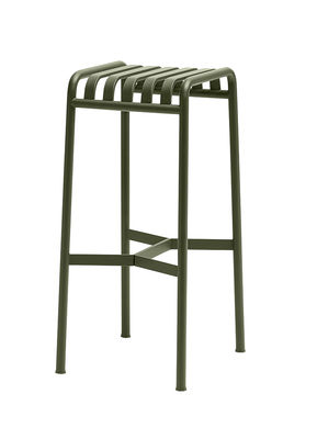 Furniture - Bar Stools - Palissade Bar stool - H 75 cm  - R & E Bouroullec by Hay - Olive green - Electro galvanized steel, Peinture époxy
