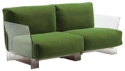 Canapé droit Pop Outdoor / 2 places - L 175 cm - Kartell vert en tissu