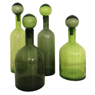 Decoration - Vases - Bubbles & Bottles Carafe - / Set of 4 - Limited Christmas 2020 edition by Pols Potten - Green - Glass