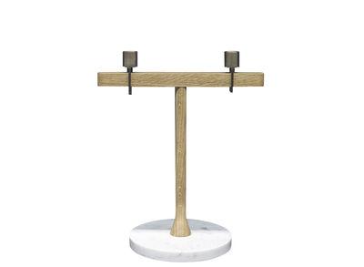 Chandelier Balance / L 30 x H 35 cm - Marbre, chêne & laiton - Driade blanc/or/bois naturel en métal/bois/pierre