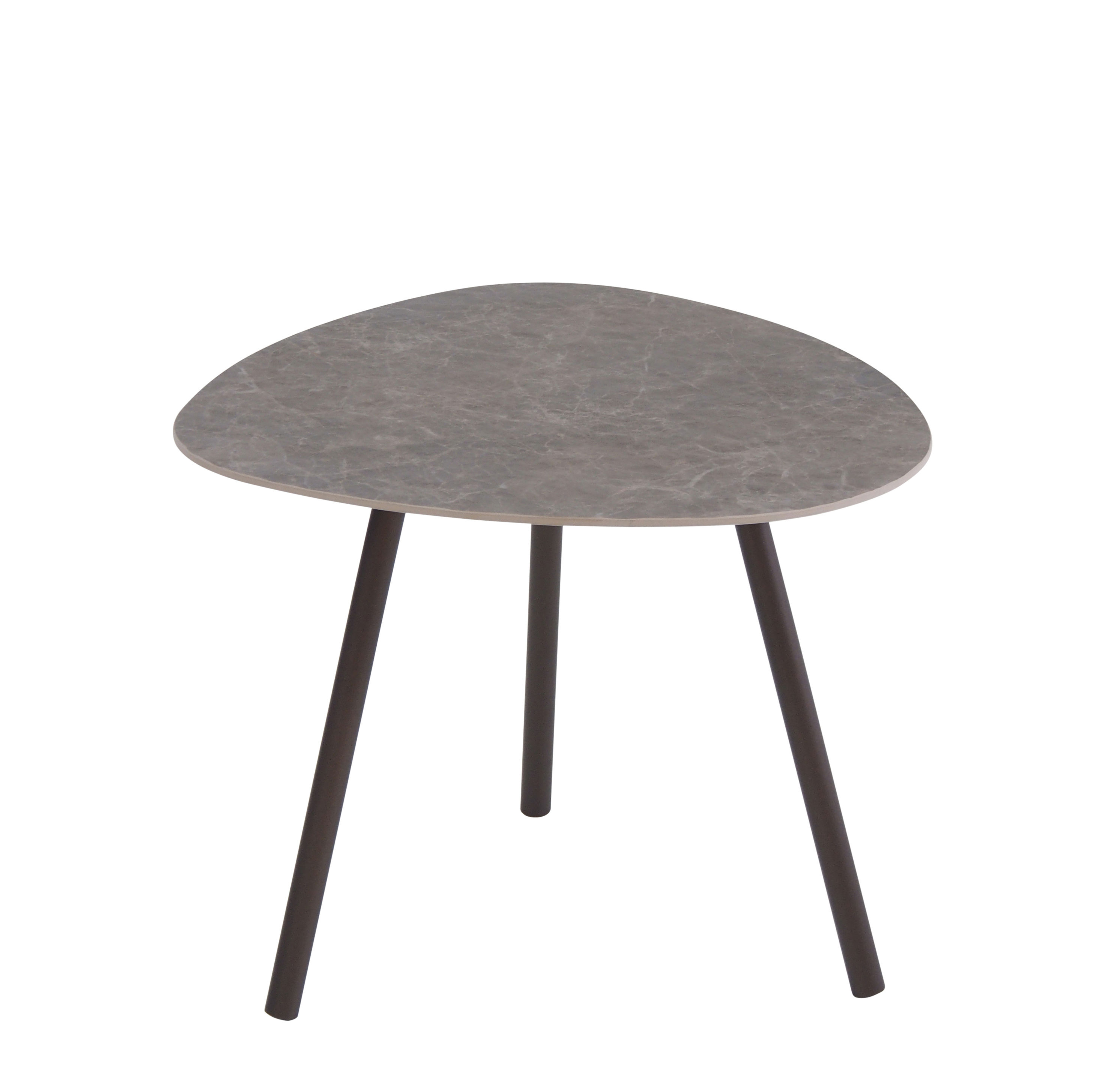 Furniture - Coffee Tables - Terramare Coffee table - Porcelain stoneware - 48 x 48 cm by Emu - Indian brown / Emperador porcelain stoneware - Stoneware, Varnished aluminium
