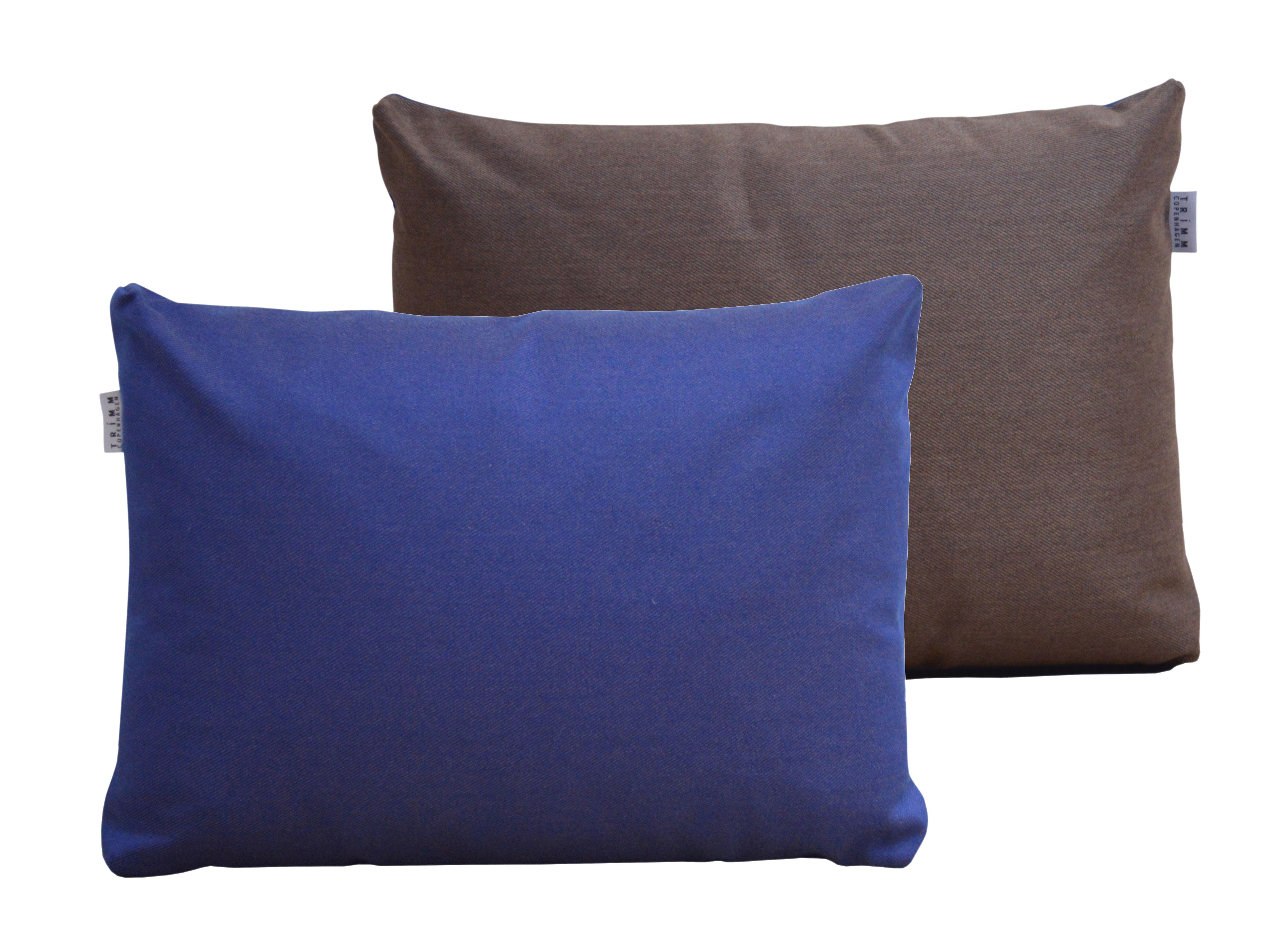 Mobilier - Poufs - Coussin Duo / 60 x 45 cm - Trimm Copenhagen - Bleu nuit / Chocolat - Mousse polyester, Tissu Acrisol Twitell