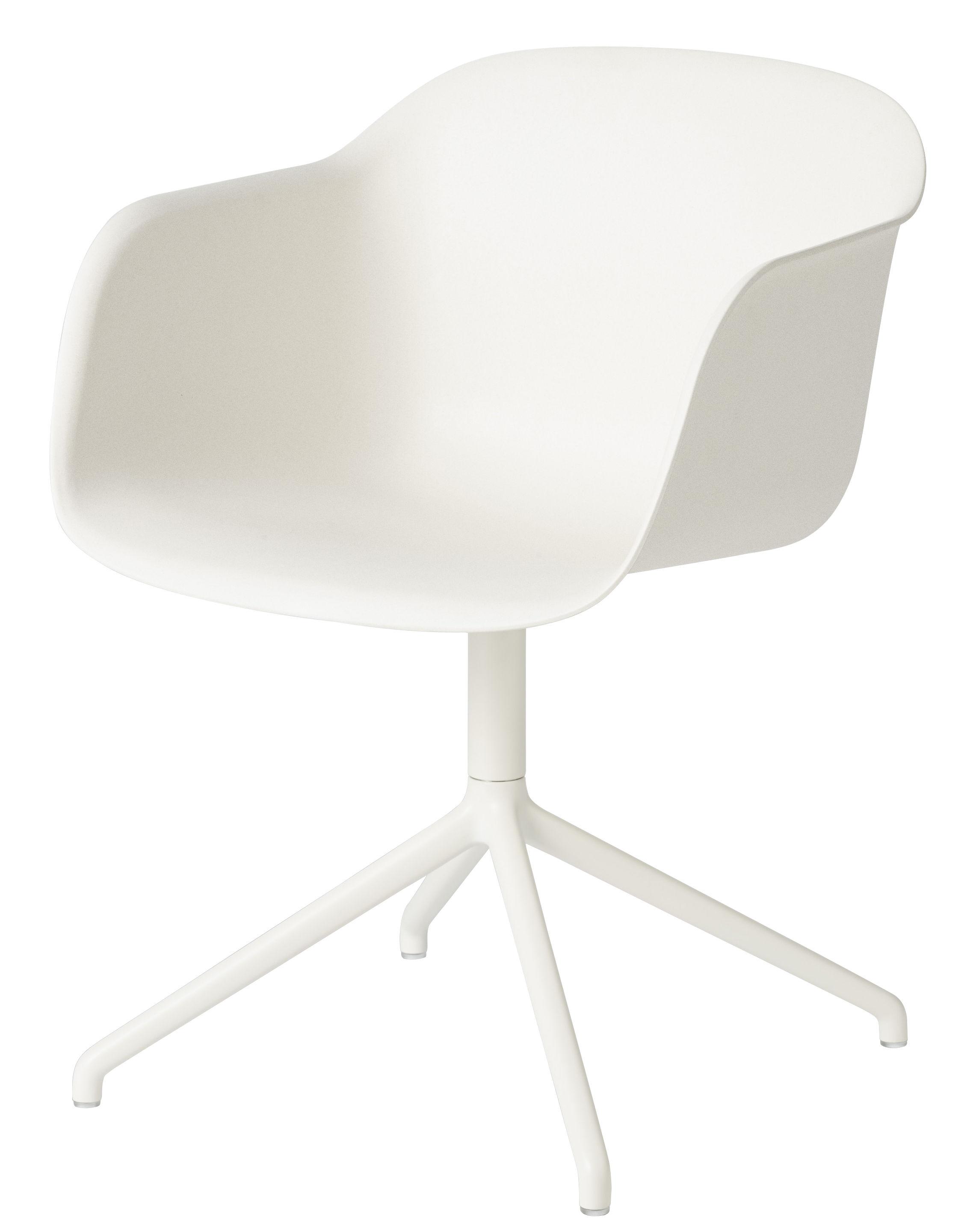 Möbel - Stühle  - Fiber Drehsessel - Muuto - Sitzschale weiß / Fußgestell weiß - bemalter Stahl, Recyceltes Verbundmaterial