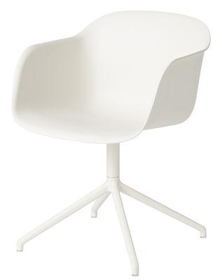 Mobilier - Chaises, fauteuils de salle à manger - Fauteuil pivotant Fiber - Muuto - Blanc / Pieds blancs - Acier peint, Matériau composite recyclé