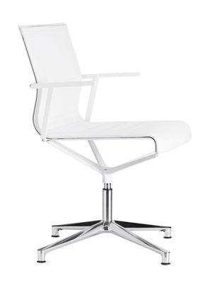 Fauteuil pivotant Stick Chair / Pied 4 branches - Assise cuir - ICF blanc,métal brillant en cuir