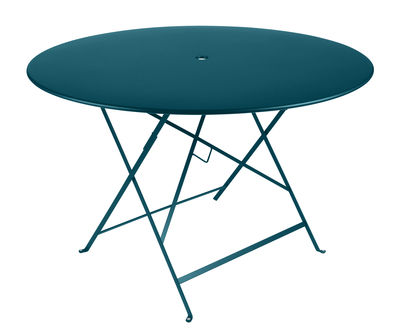 Outdoor - Garden Tables - Bistro Foldable table - / Ø 117 cm - Parasol hole by Fermob - Acapulco blue - Lacquered steel
