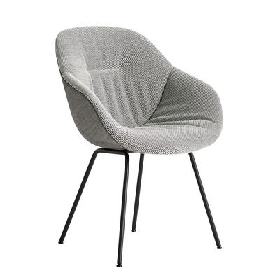 Möbel - Stühle  - About a chair AAC127 Soft Duo Gepolsterter Sessel / Hohe Rückenlehne - Ganz mit gestepptem Stoff bezogen & Metall - Hay - Weiß mit schwarz gesprenkelt & und Rücken grau / Füße schwarz -  Ouate, Gewebe, Polyurethan-Schaum, thermolackierter Stahl, verstärktes Polypropylen