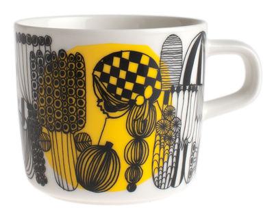 Tischkultur - Tassen und Becher - Siirtolapuutarha Kaffeetasse - Marimekko - Siirtolapuutarha - Weiß, schwarz & gelb - emailliertes Porzellan