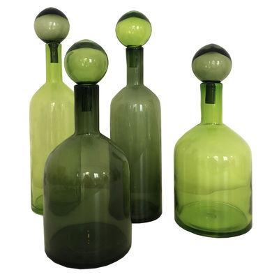 Dekoration - Vasen - Bubbles & Bottles Karaffe / Glas - 4er Set / H 44 cm - Pols Potten - Grün - Glas