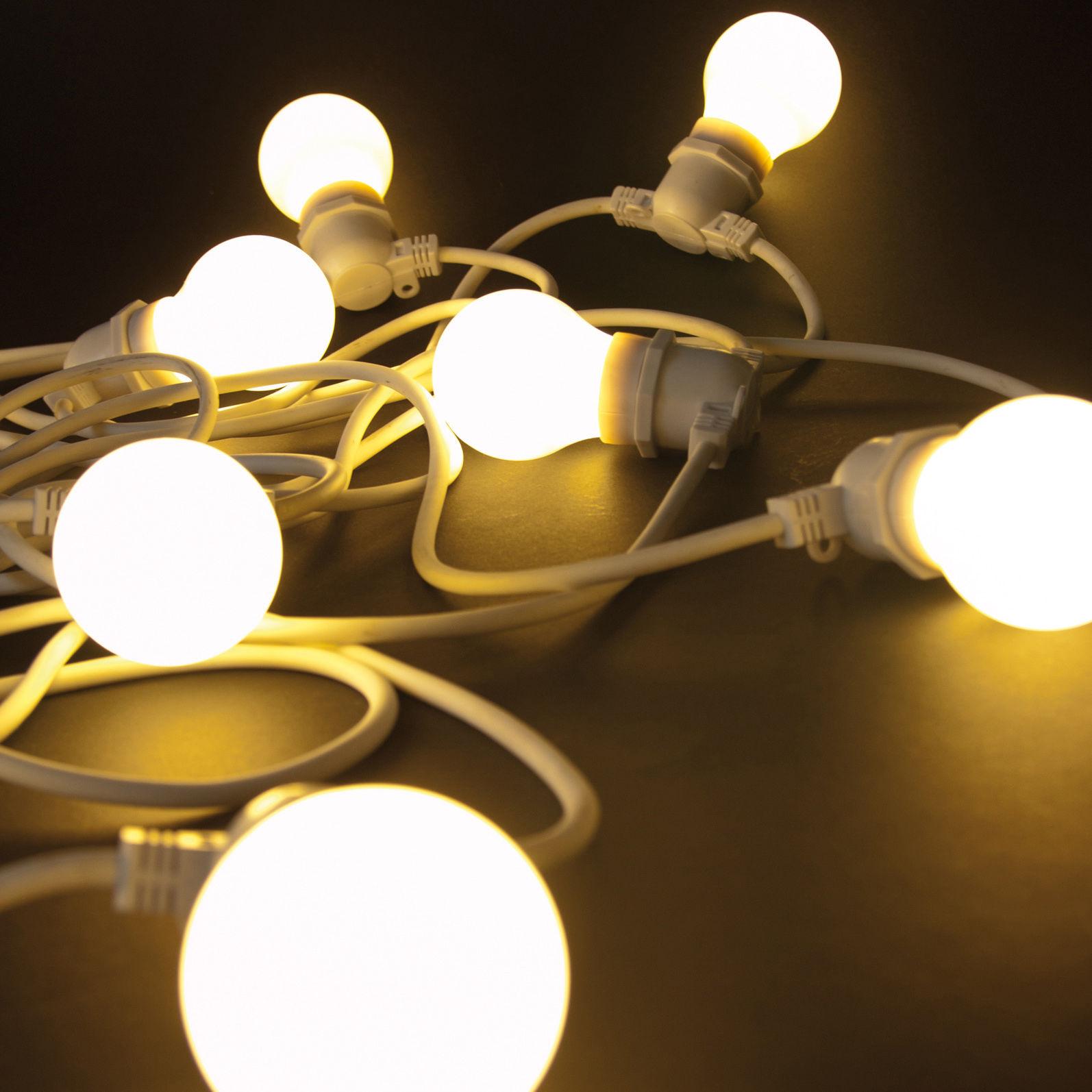 Leuchten - Außenleuchten - Bella Vista WHITE  Lichtgirlande im Freien LED - für den Außeneinsatz - Seletti - Weißes Kabel - Kautschuk