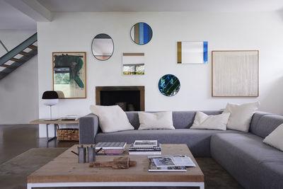 Miroir Mural Vitrail Magis Cadre Gris Bleu Beige Made In Design