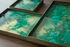 Plateau Malachite Organic / Vides-poches - 16 x 16 cm / Verre peint main - Ethnicraft