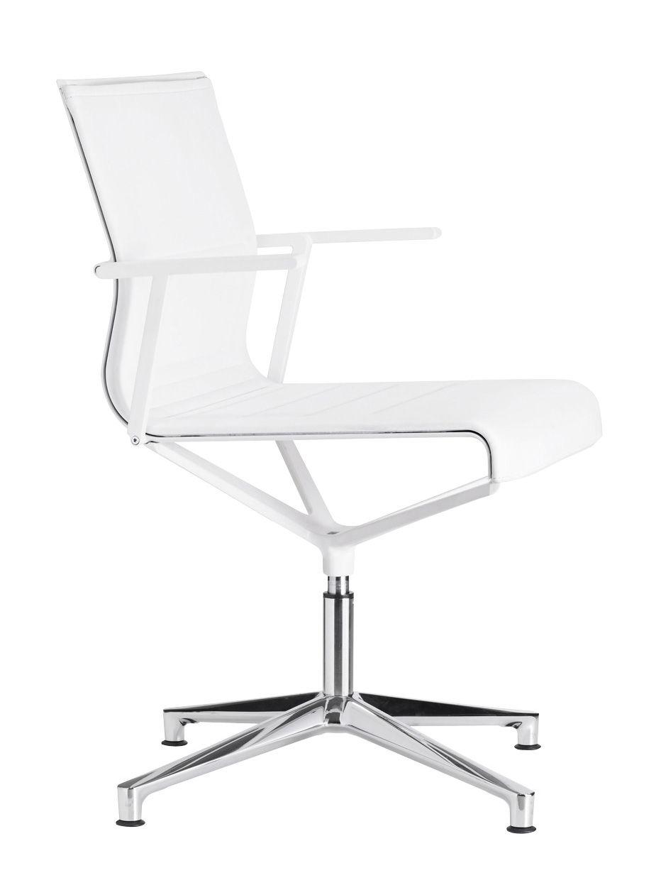 Arredamento - Sedie ufficio - Poltrona girevole Stick Chair - sedia a 4 razze - Seduta in cuoio di ICF - Cuoio bianco - Base in alluminio - Struttura e braccioli in colore bianco - Alluminio, Pelle, Termoplastica