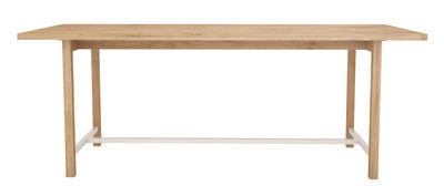 Furniture - Dining Tables - Squeeze Rectangular table - 200 x 90 cm by Universo Positivo - Natural oak / White - Lacquered metal, Solid oak