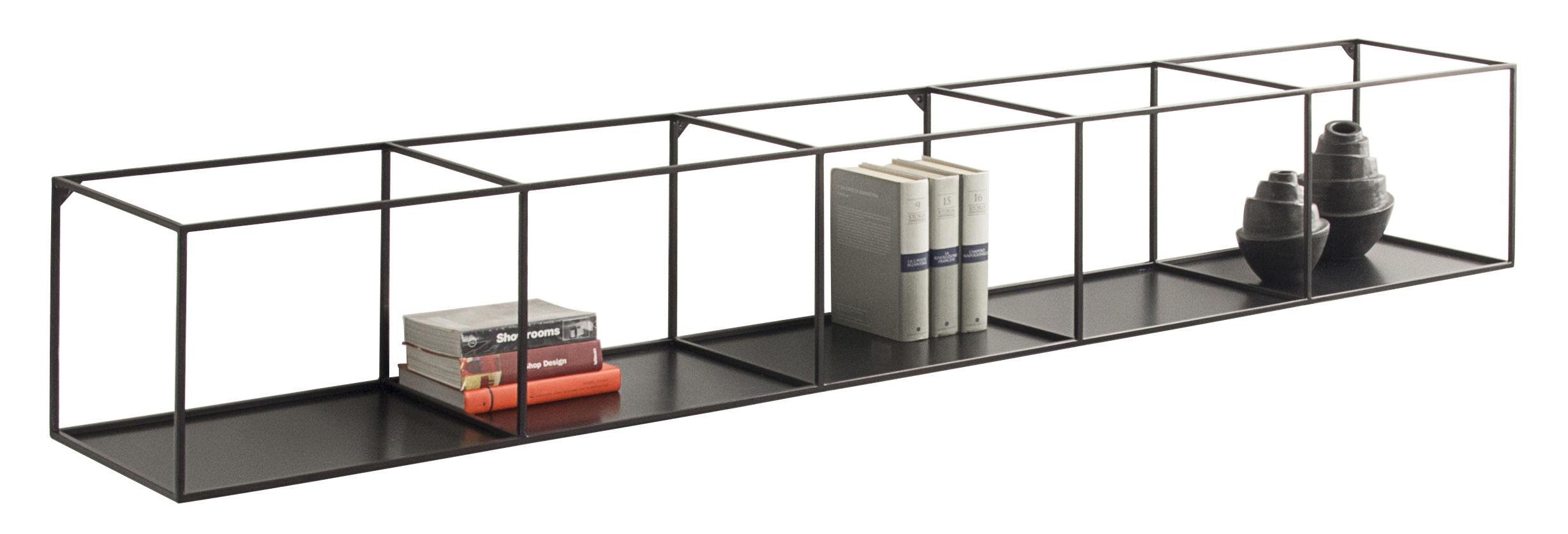 Arredamento - Scaffali e librerie - Scaffale Slim Irony - / L 206 cm di Zeus - Nero ramato - Acciaio