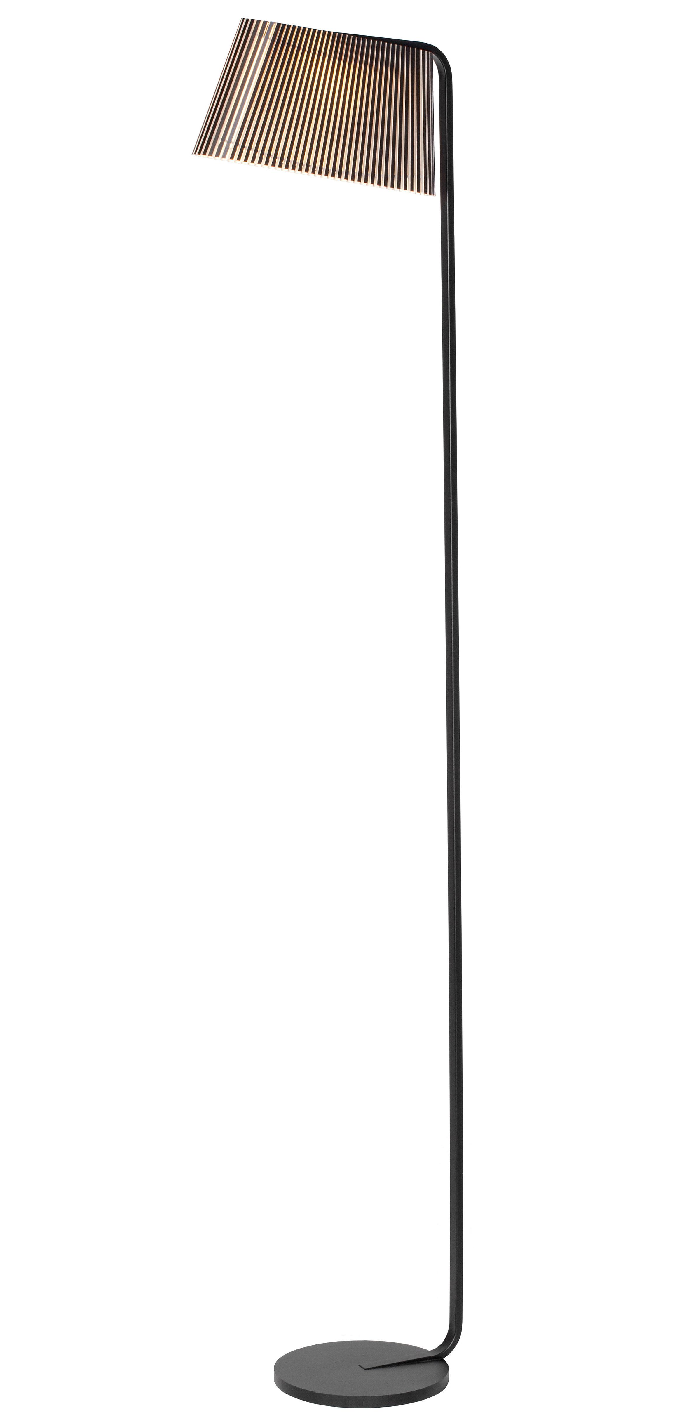 Leuchten - Stehleuchten - Owalo Stehleuchte LED / H 168 cm - Secto Design - Schwarz / Gestell schwarz - Birkenlatten, Metall
