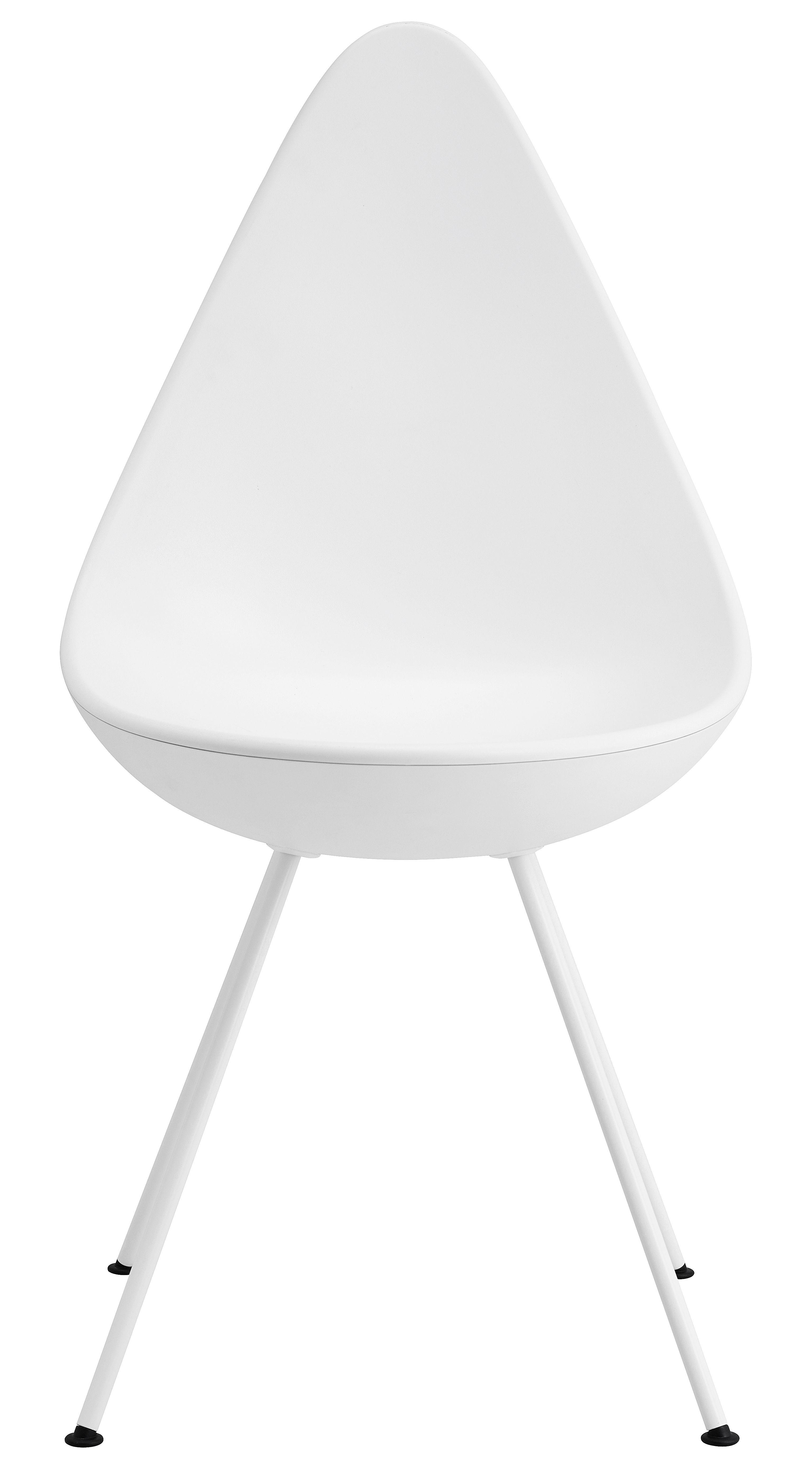 Möbel - Stühle  - Drop Stuhl / Sitzschale aus Kunststoff - Neuauflage des Originals von 1958 - Fritz Hansen - Weiß - lackierter Stahl, Nylon, Plastique ABS