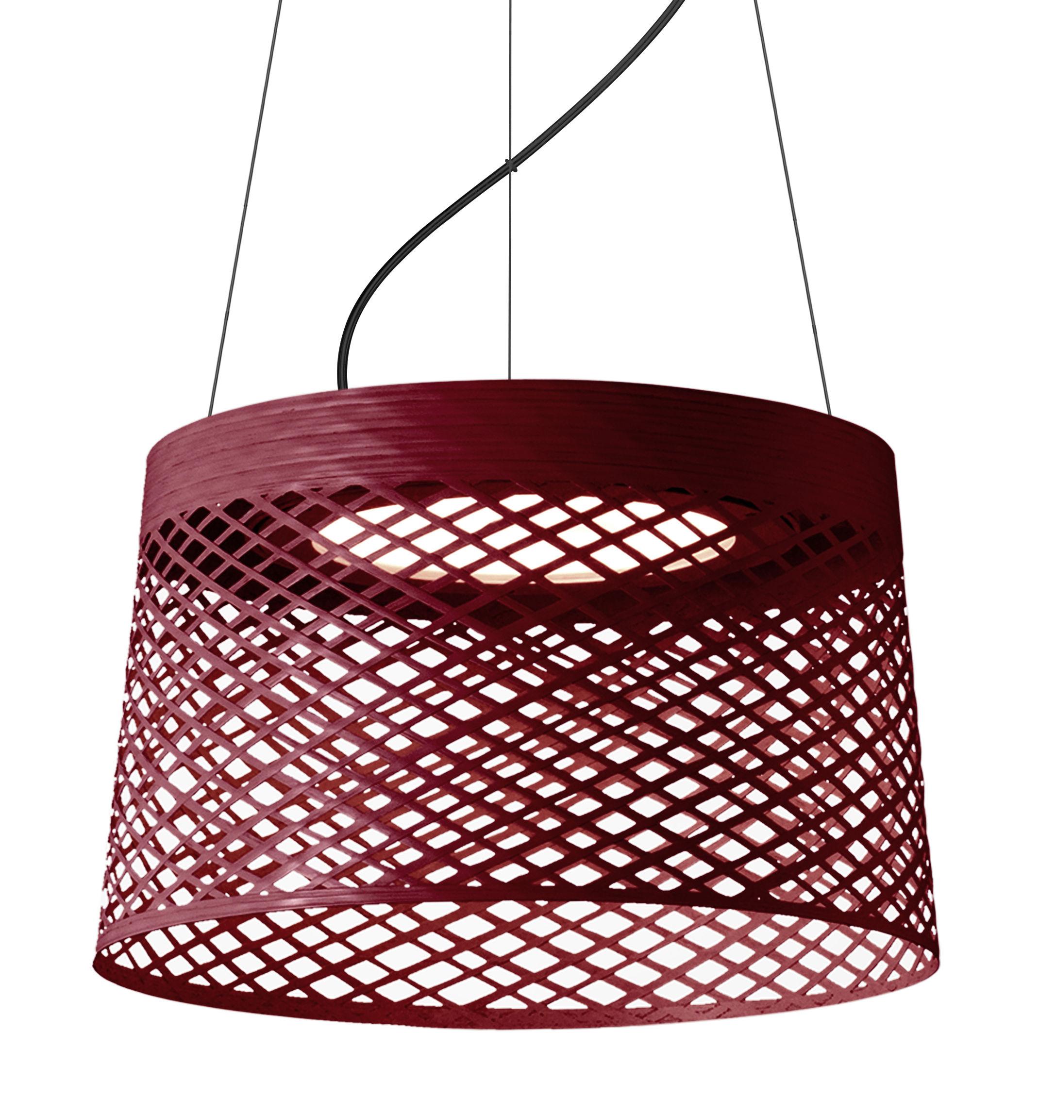 Luminaire - Suspensions - Suspension Twiggy Grid LED Outdoor / Ø 46 x H 29 cm - Foscarini - Carmin - Fibre de verre, Matériau composite, Métal verni